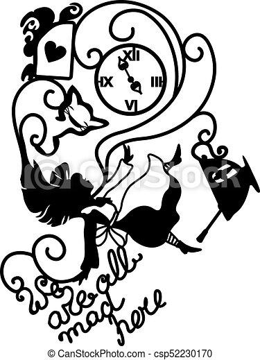 Alice in Wonderland vector illustration - csp52230170