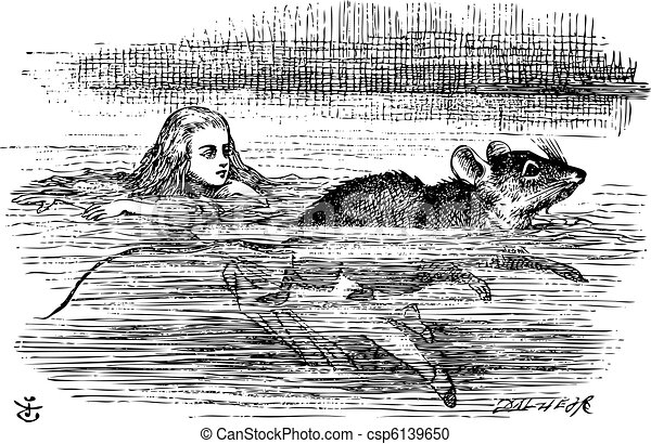 Alice swimming near a mouse - csp6139650