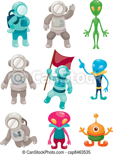 alien and astronaut icons - csp8463535