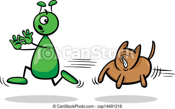 alien and dog cartoon illustration - csp14491216