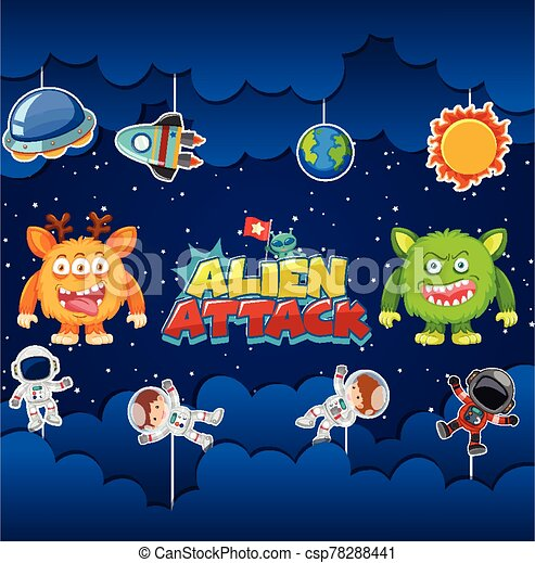 Alien attack poster design with aliens and astronauts - csp78288441