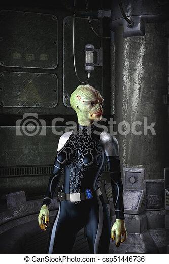 Alien female adventurer science fiction