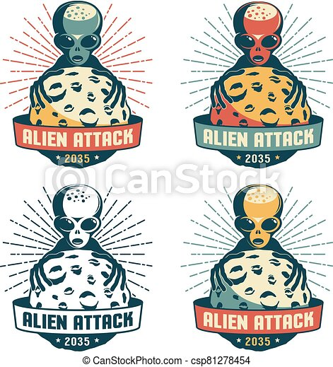 Alien from space captures the planet - retro badge - csp81278454