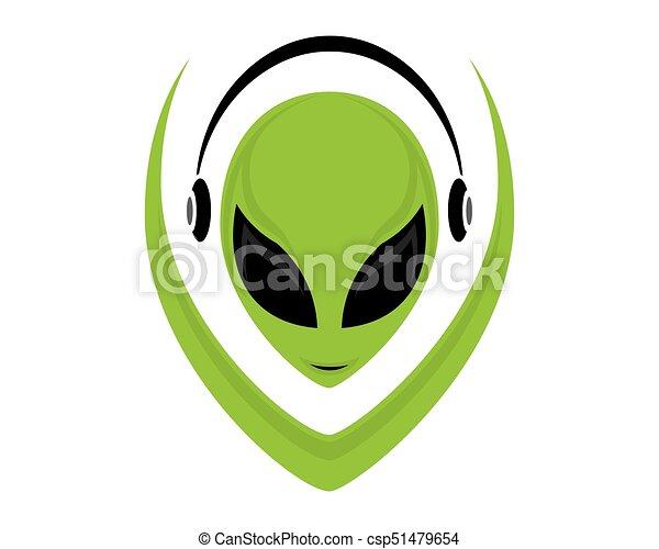 alien, gezicht, pictogram - csp51479654