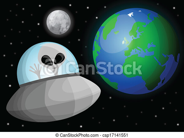 alien, schattig, spotprent, ruimte - csp17141551