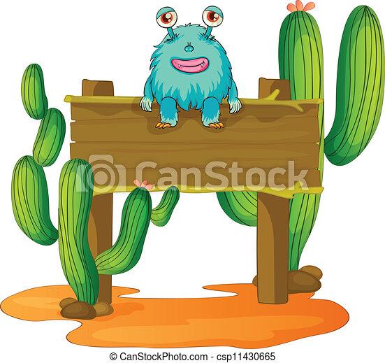 alien sitting on a board - csp11430665
