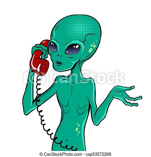 Alien speaking on phone pop art vector - csp53572268