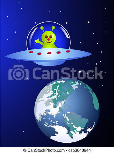 Alien visiting earth - csp3640944
