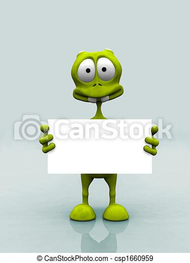 Alien with sign - csp1660959