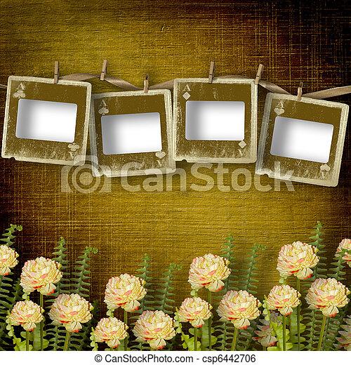 alienato, vecchio, stanza, parete, diapositive, fiori - csp6442706
