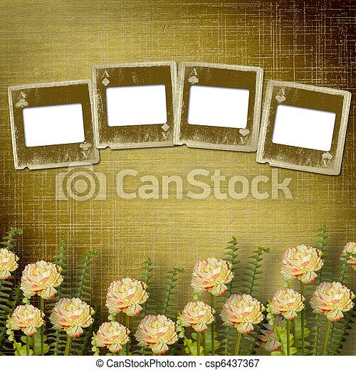 alienato, vecchio, stanza, parete, diapositive, fiori - csp6437367