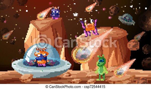 Aliens in space scene - csp72544415
