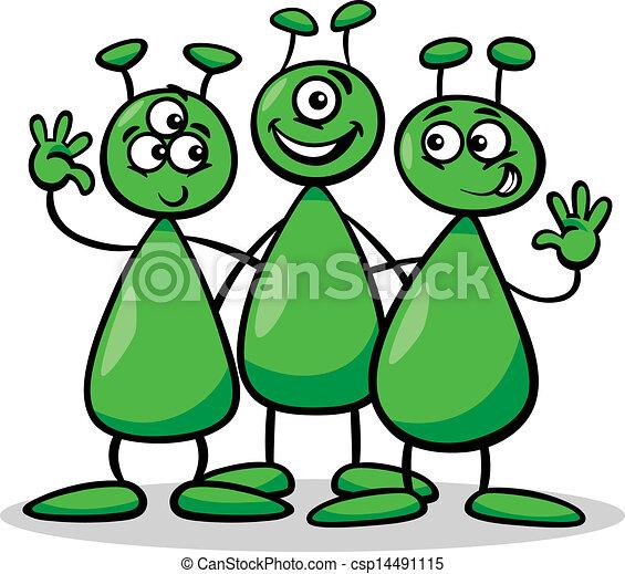 aliens or martians cartoon illustration cartoon illustration of rh canstockphoto com Alien Spaceship Clip Art Alien Spaceship Clip Art