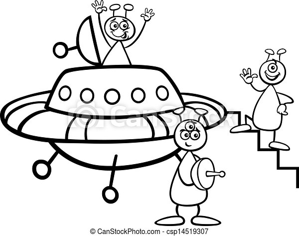 Aliens With Ufo For Coloring Book Black And White Cartoon