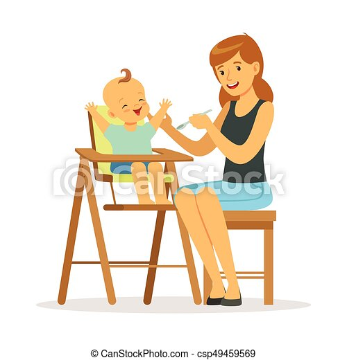 alimentation color elle chaise haute jeune illustration vecteur m re b b heureux. Black Bedroom Furniture Sets. Home Design Ideas