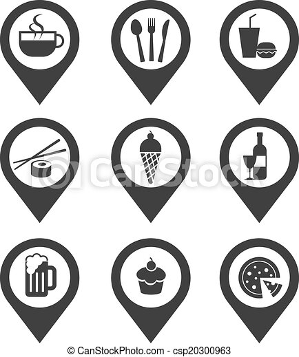 Hacer mapas de iconos comida y bebida - csp20300963