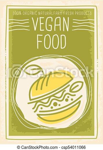 alimento, bandeira, desenho, vegan, promocional - csp54011066