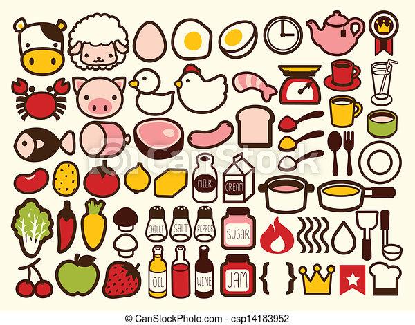 50 comida y bebida icono - csp14183952