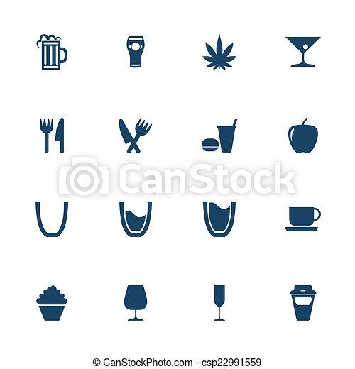 alimento, bebida, iconos - csp22991559