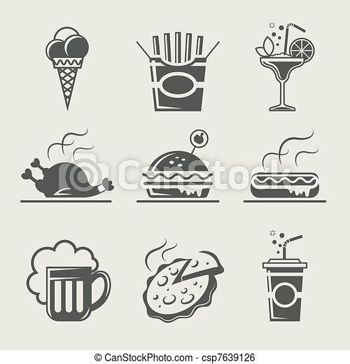 Comida rápida y bebida - csp7639126