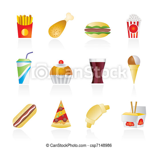 Comida rápida y bebida iconos - csp7148986