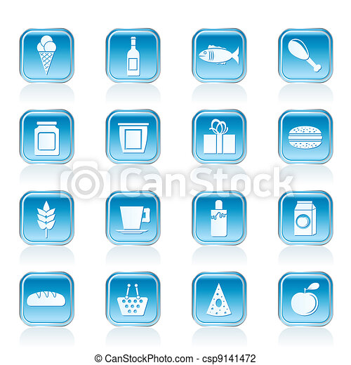 Comprar, comer y beber iconos - csp9141472