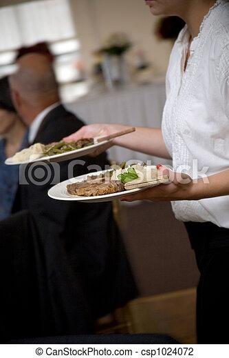 alimento, camarero, servido, ser, boda - csp1024072