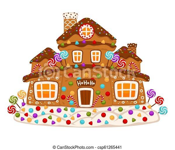 alimento, casa, vetorial, biscoito, sobremesa, gingerbread, decorado, doce - csp61265441