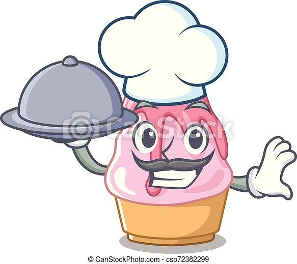 Chef con comida kakigori con en forma de dibujos animados - csp72382299