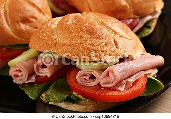 El sándwich cierra la comida rápida - csp18694219