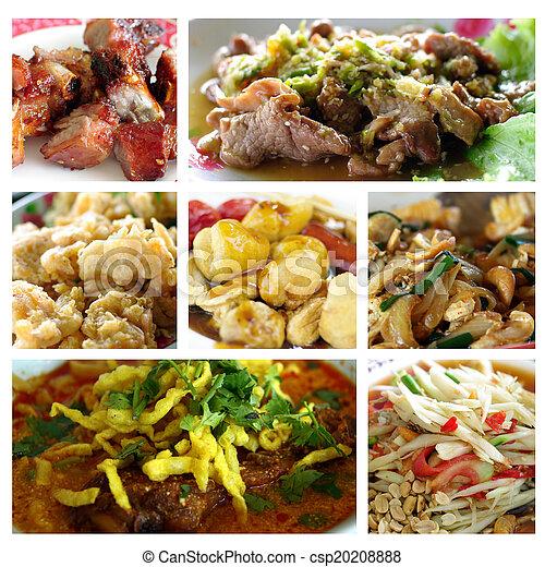 Collage de comida tailandesa - csp20208888