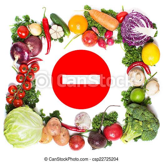 Un marco vegetal colorido, un concepto saludable de comida. - csp22725204