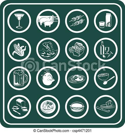 Un juego de comida y bebida iconos - csp4471201