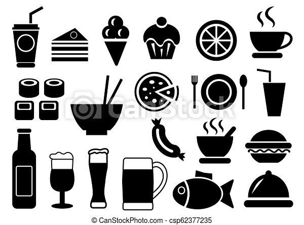 Comida y iconos de bebida - csp62377235