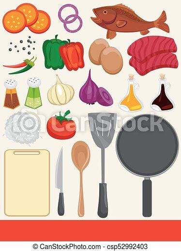 alimento, cozinhar, elementos, ilustração - csp52992403