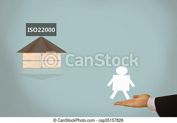 alimento, dirección, seguridad, iso22000, specifying - csp35157826