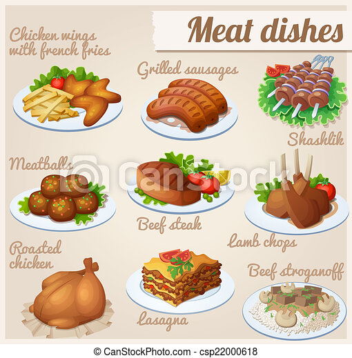 alimento, dishes., jogo, carne, icons. - csp22000618