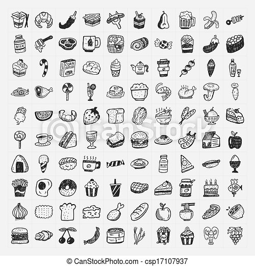 alimento, doodle, jogo, ícones - csp17107937