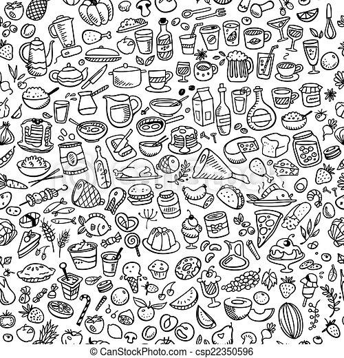 alimento, doodle, seamless, fundo, ícones - csp22350596