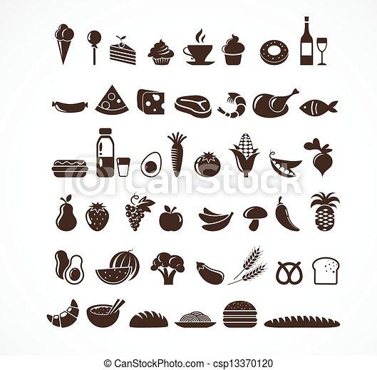 alimento, elementos, iconos - csp13370120