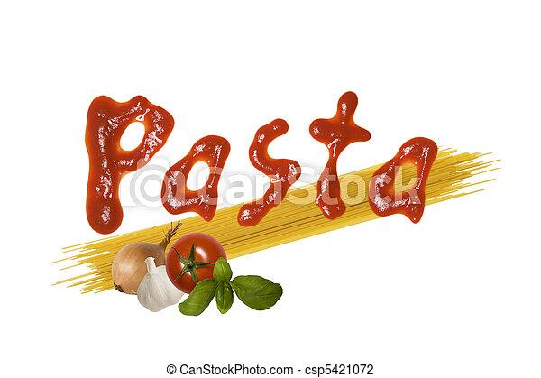 alimento, espaguetis, italiano - csp5421072