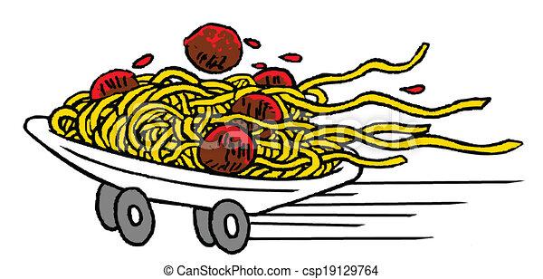 alimento, espaguetis, rápido - csp19129764