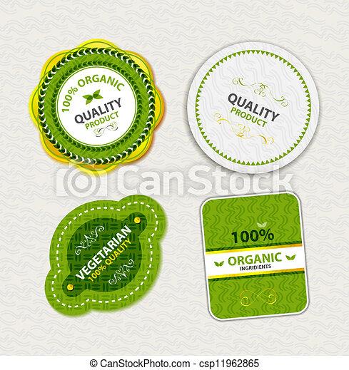 Un conjunto de placas de comida orgánica y etiquetas - csp11962865
