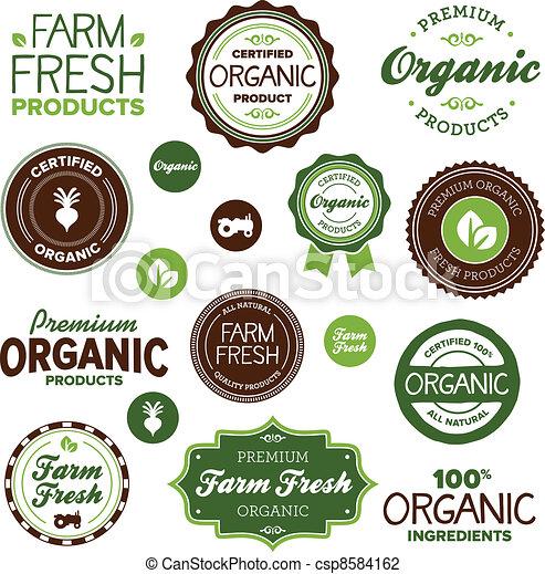 alimento, etiquetas, orgánico - csp8584162