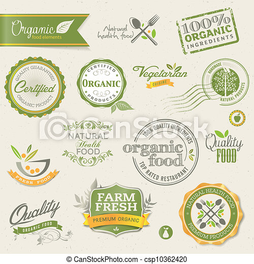 alimento, etiquetas, orgânica, elementos - csp10362420