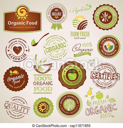alimento, etiquetas, orgânica, elementos - csp11871855