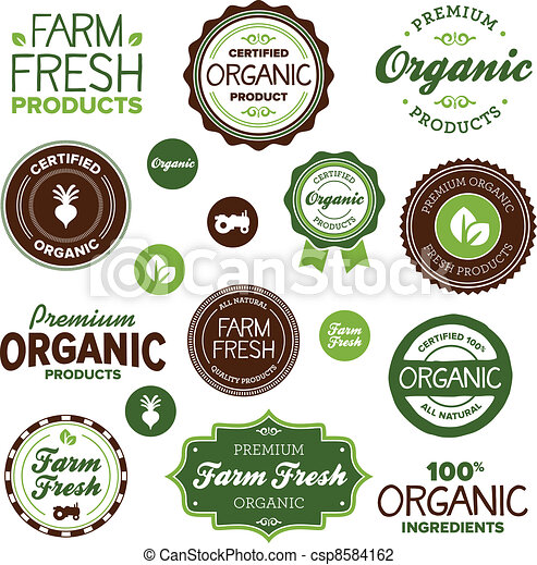 alimento, etiquetas, orgânica - csp8584162