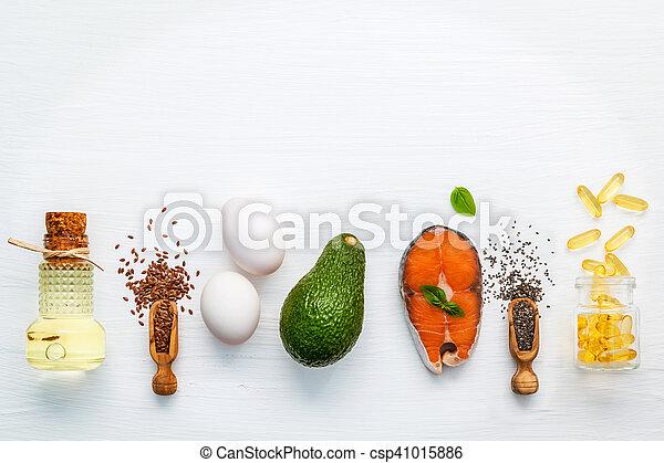 alimento, fuentes, 3, selección, omega - csp41015886