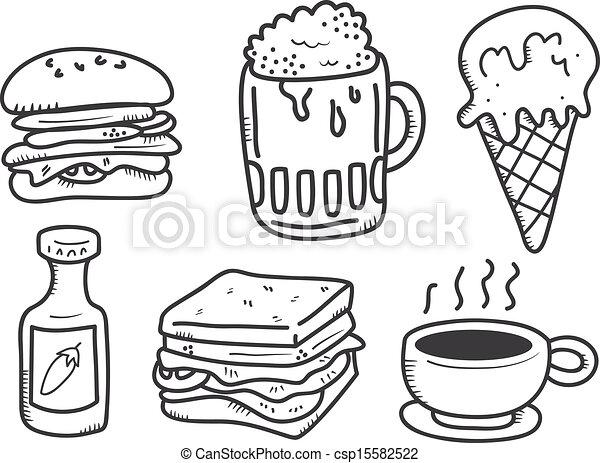 Comida y bebida icono al estilo garabato - csp15582522
