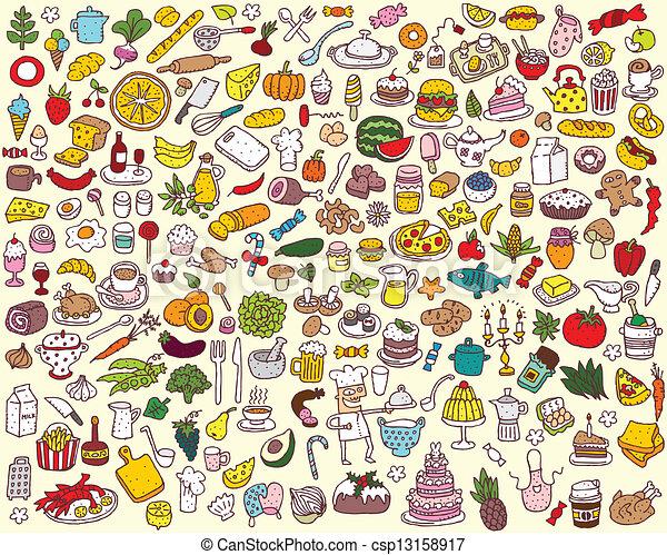 Gran comida y colecta de cocina - csp13158917